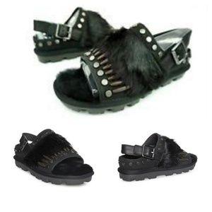 UGG BIKER CHIC Shearling/Feather Women Sandals 7.5